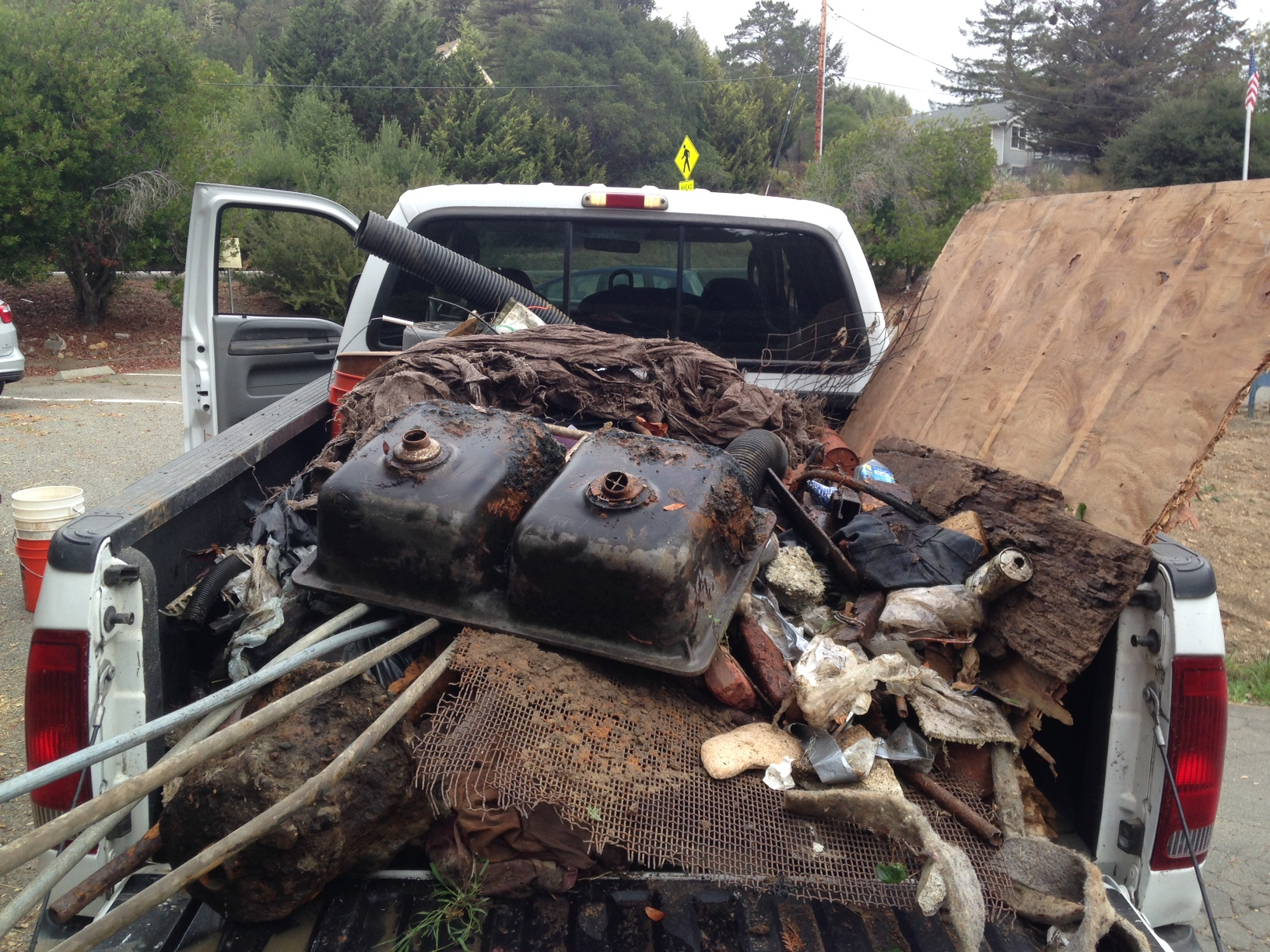truck with debris