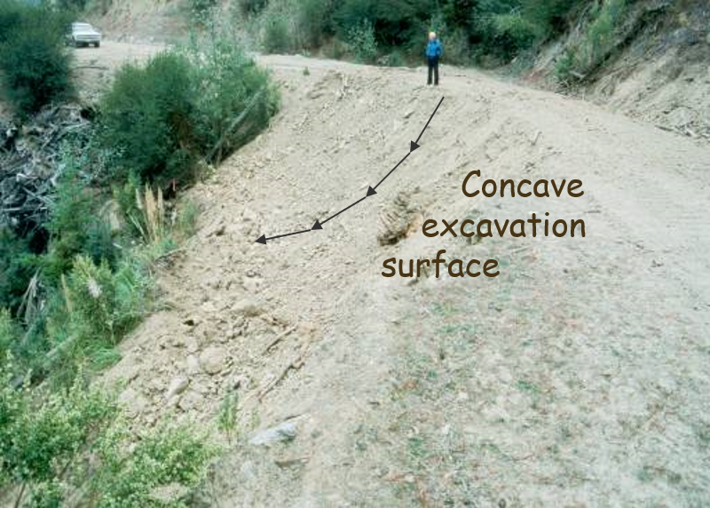 The area of unstable fill has been re-graded. It looks even and concave all down the bank.