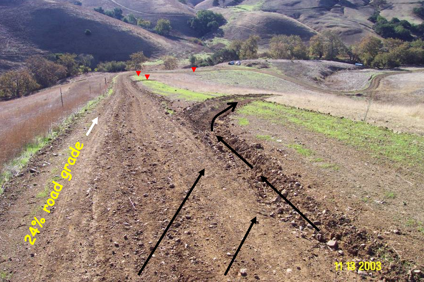 A dirt road with a 24% grade in a field has a ditch leading water off the road surface.