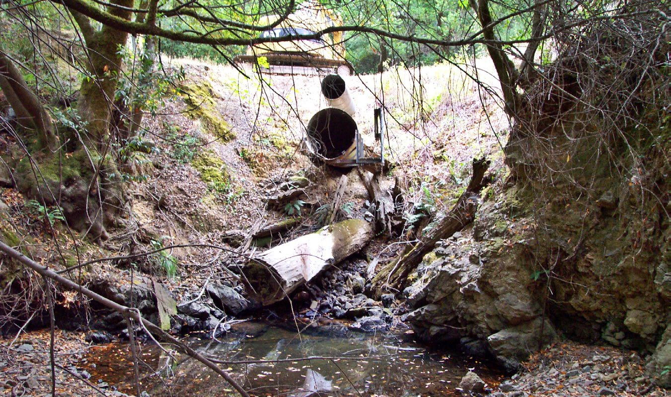 Two different-sized culverts pop out from the side bank of a road.