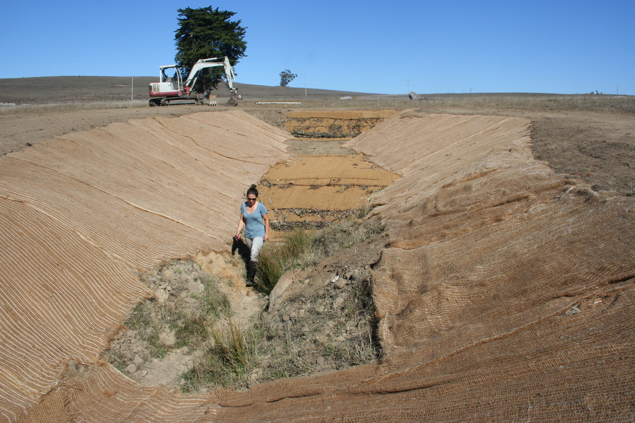 On a blue-sky day, a large, sparse landscape stretches out, covered in brown grasses in the background. In the foreground, a 10-foot-wide, 50-foot-long gully with sloping sides is carved out. A person in a T-shirt and boots walks along the bottom. There are burlap-type fabric panels laid out overlapping each other along the sides and bottom of the gully, and next to the gully on flat ground by a lone tree rests a mid-sized white excavator.