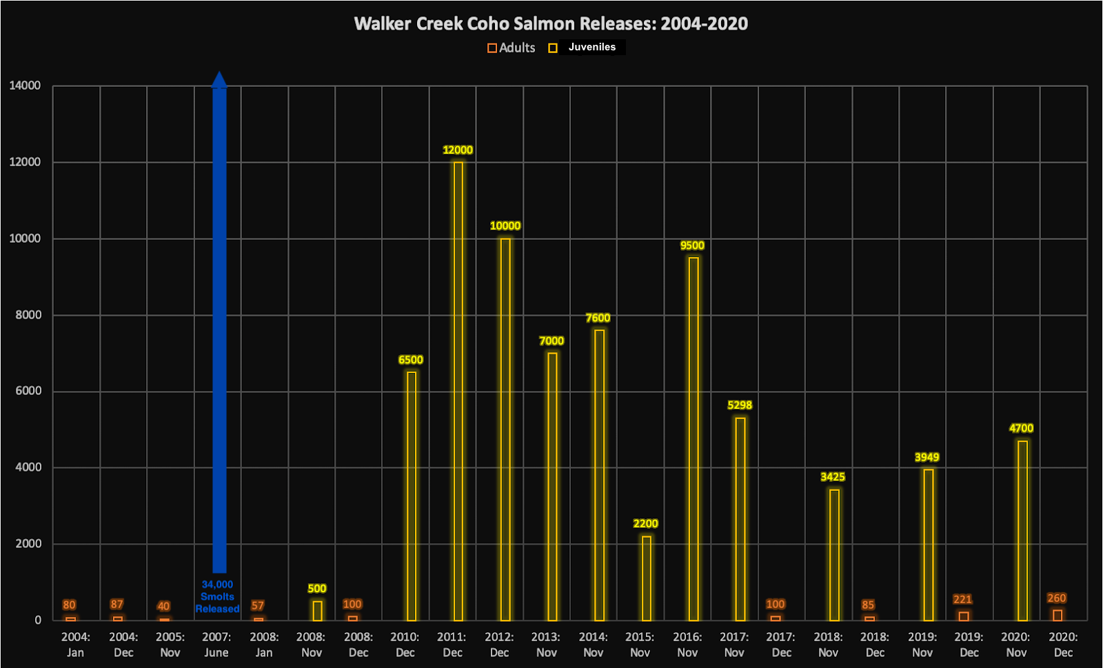 The graph shows data from 2004 to 2020. Most releases happen in the winter season, between November and January. Most of the broodstock released are juveniles (thousands), but some adults are released as well (hundreds). Notably, 34,000 smolts were released in June of 2007.